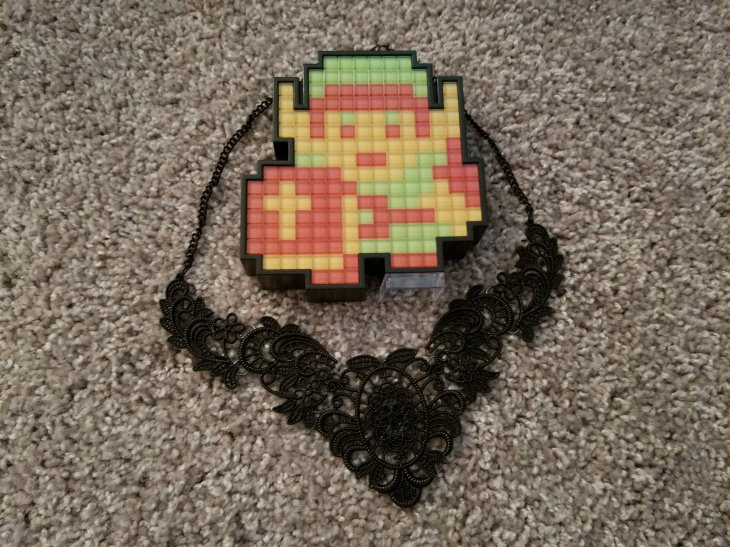 link pixel pal and lace necklace